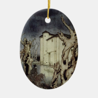 Edgar Allan Poe Usher painting by Arthur Rackham Ceramic Ornament