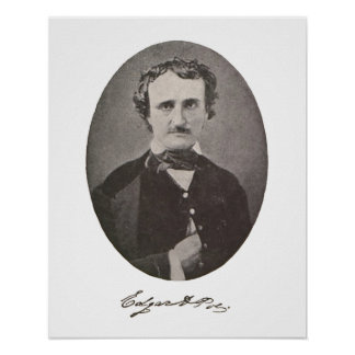 Edgar Allan Poe with Signature Poster
