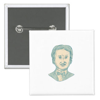 Edgar Allan Poe Writer Drawing 2 Inch Square Button