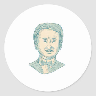 Edgar Allan Poe Writer Drawing Classic Round Sticker
