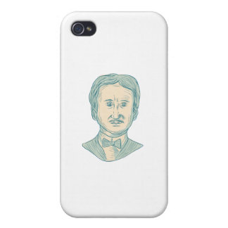 Edgar Allan Poe Writer Drawing iPhone 4/4S Cases