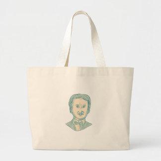 Edgar Allan Poe Writer Drawing Large Tote Bag