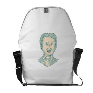 Edgar Allan Poe Writer Drawing Messenger Bag