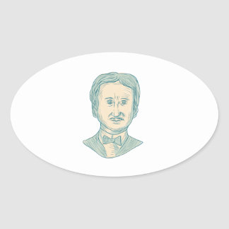 Edgar Allan Poe Writer Drawing Oval Sticker