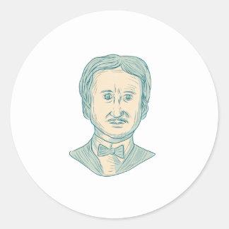 Edgar Allan Poe Writer Drawing Round Sticker
