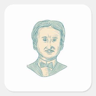 Edgar Allan Poe Writer Drawing Square Sticker