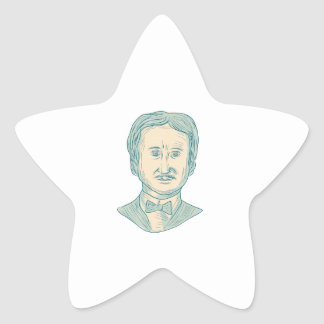 Edgar Allan Poe Writer Drawing Star Sticker