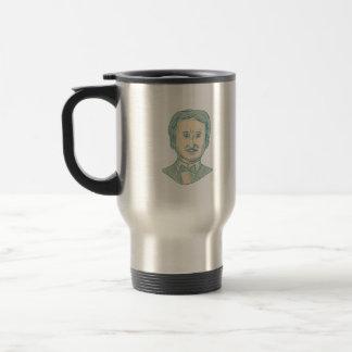 Edgar Allan Poe Writer Drawing Travel Mug