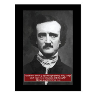 Edgar Allen Poe ' Those who dream by day...' Quote Postcard