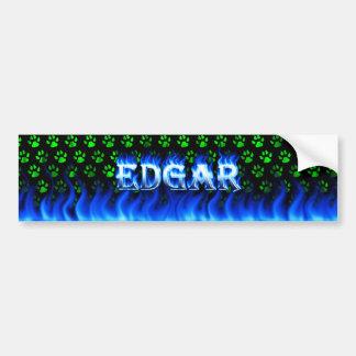 Edgar blue fire and flames bumper sticker design.
