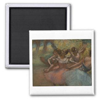 Edgar Degas - 4 Ballerinas on Stage 1885-90 Dancer Square Magnet
