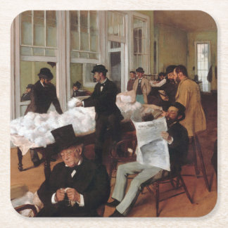 EDGAR DEGAS- A cotton office in New Orleans 1873 Square Paper Coaster