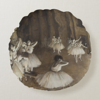 Edgar Degas Ballet Rehearsal On Stage Round Pillow