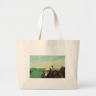 Edgar Degas Carriage At The Races Large Tote Bag