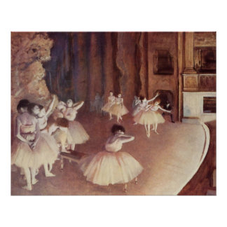 Edgar Degas - Dress Rehearsal Ballet Stage 1873-74 Poster