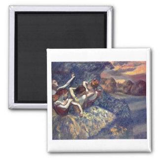 Edgar Degas - Four Dancers 1899 Ballet Canvas Square Magnet