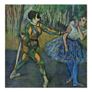 Edgar Degas - Harlequin and Columbine Poster