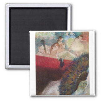 Edgar Degas - In the Theatre Theater Fan Dancers Square Magnet