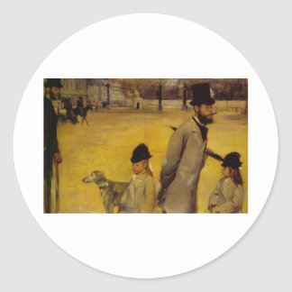 Edgar Degas - Place of Concorde 1875 oil canvas Round Stickers