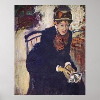 Edgar Degas - Portrait Cassatt holding Cards 1876 Posters