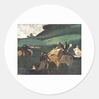 Edgar Degas - Rider in Landscape 1862 man horse Round Sticker