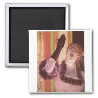 Edgar Degas - Singer with Glove 1878 Woman Flower Square Magnet