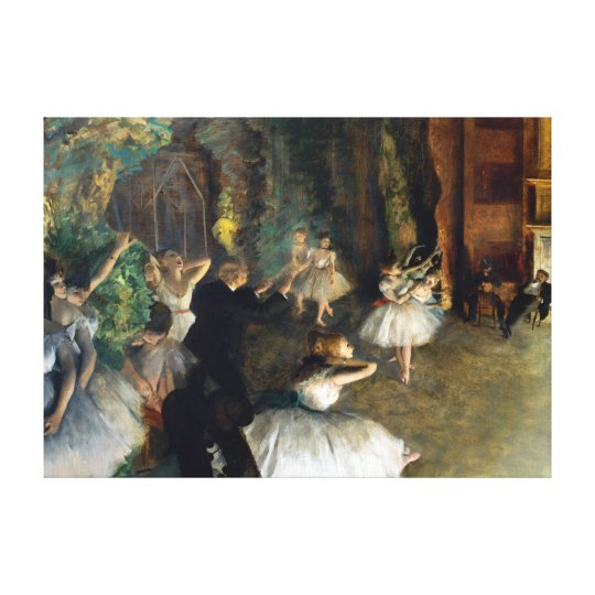 Edgar Degas The Rehearsal of the Ballet Onstage Canvas Print