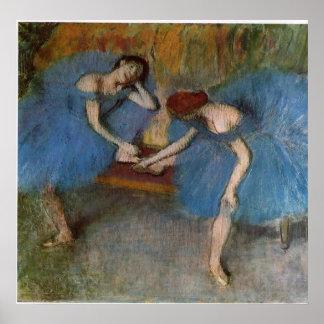 Edgar Degas - Two Dancers Blue Tutu Redhead Dancer Poster