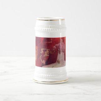 Edgar Degas - When Haarkammen Canvas Red Rouge 18 Oz Beer Stein