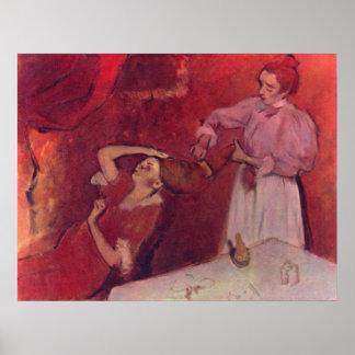 Edgar Degas - When Haarkammen Canvas Red Rouge Poster