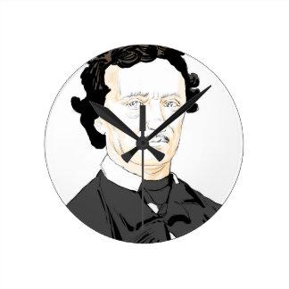 Edgar Poe Round Clock