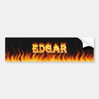 Edgar real fire and flames bumper sticker design.