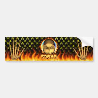 Edgar skull real fire and flames bumper sticker de