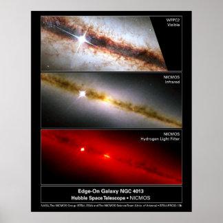 Edge-on Galaxy NGC 4013 Hubble Telescope Poster