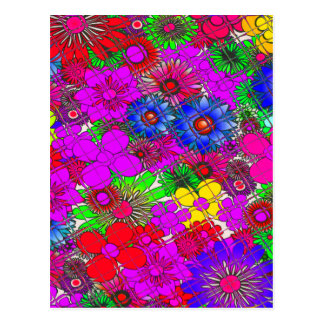 Edgy Beautiful colorful amazing floral pattern des Postcard