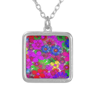 Edgy Beautiful colorful amazing floral pattern des Silver Plated Necklace