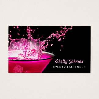 Edgy Black and Pink Splash Events Bartender Business Card