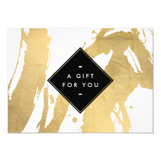 Edgy Faux Gold Brushstrokes Gift Certificate Card
