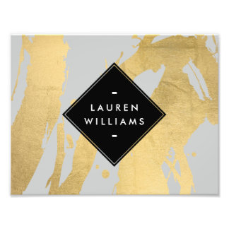 Edgy Faux Gold Brushstrokes on Gray Art Photo
