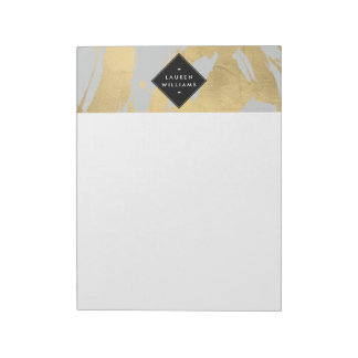 Edgy Faux Gold Brushstrokes on Gray Notepad