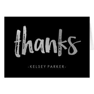 Edgy Modern Black and Silver Thank You Card