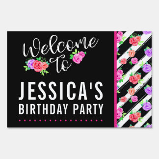 Edgy Roses & Modern Stripes Girly Birthday Party Sign