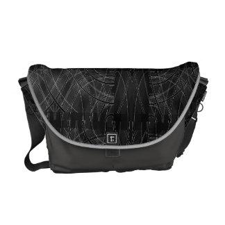 Edgy Tech Distorted Plaid Messenger Bag