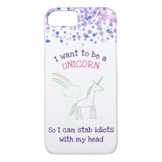 Edgy Unicorn with Rainbow and Confetti Funny Case-Mate iPhone Case