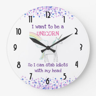 Edgy Unicorn with Rainbow and Confetti Funny Large Clock