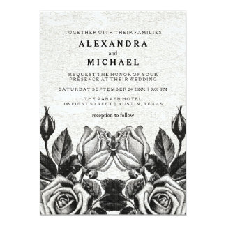 Edgy Victorian Roses Black and White Wedding Card