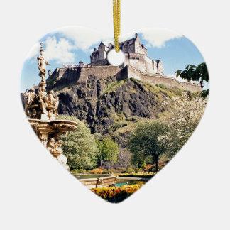 Edinburgh Castle Ceramic Heart Ornament