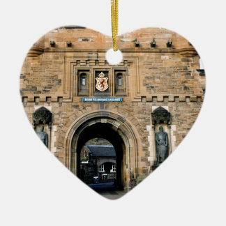 Edinburgh Castle entrance Ceramic Heart Ornament