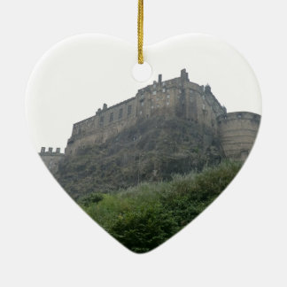 Edinburgh Castle in the Mist Ceramic Heart Ornament