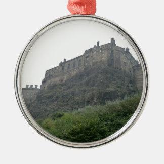Edinburgh Castle in the Mist Silver-Colored Round Ornament